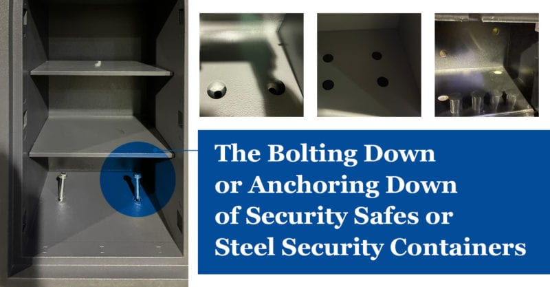 the bolting down or anchoring down of security safes or steel security containers